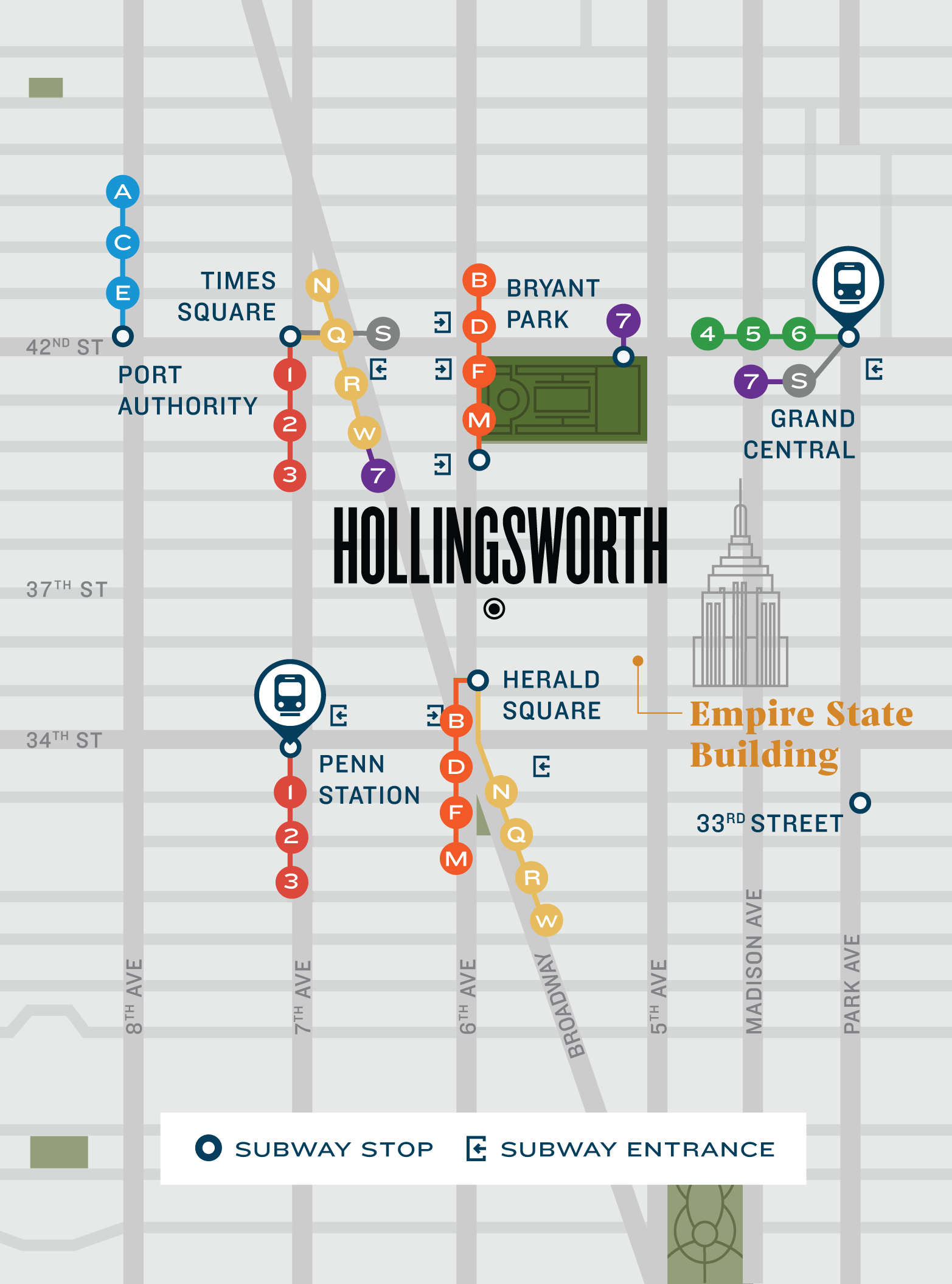 Mobile-Friendly Map Highlighting Where Hollingsworth Is in Relation to Iconic Location in NYC
