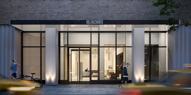 Wide Exterior Shot of Hollingsworth Luxury Apartments Entrance