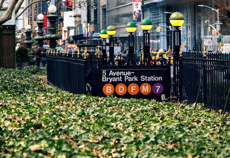 Wideshot of the Entrance to the Bryant Park Station Subway Entrance