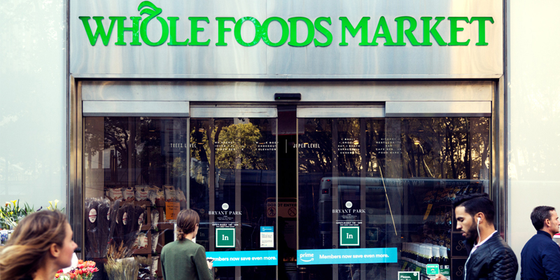 Exterior Shot of Whole Foods Entrance in Midtown NYC