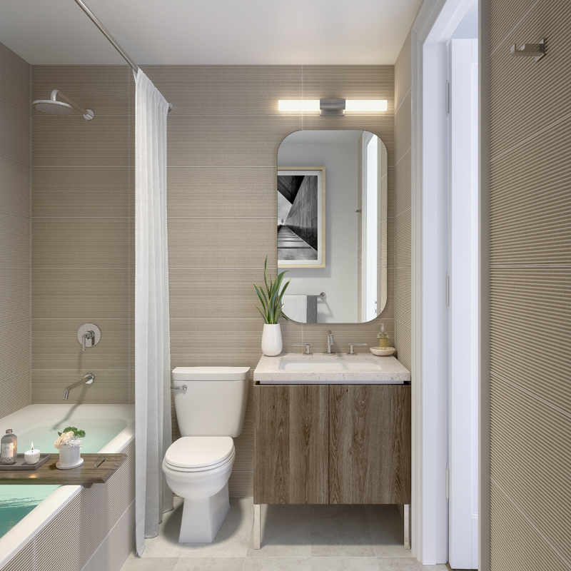 Interior Shot of Hollingsworth Apartment Bathroom With Sink and Full Bathtub