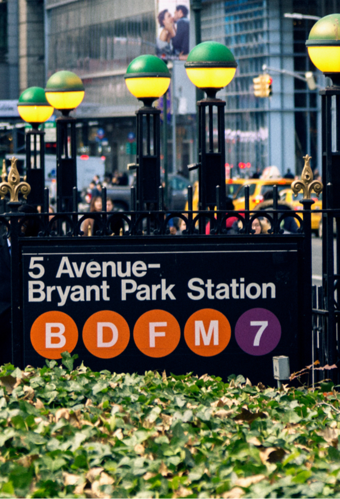 Picture of the Bryant Park Station Subway Sign