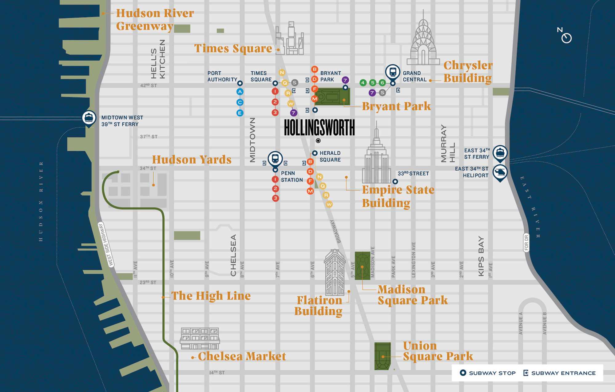Map Depicting Hollingsworth in Relation to Iconic Spots in New York City